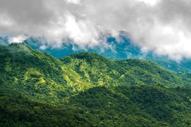 Nebel und berge, die sich um die jahreszeit einsamer menschen kümmern