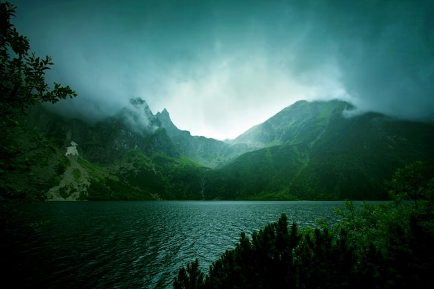 Nebel und dunkle wolken in den bergen.