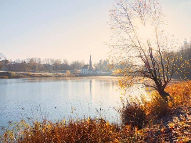 Neblige sonnige herbstlandschaft mit einem alten palast. gatchina. russland.