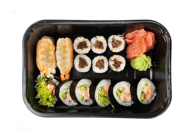 Nehmen sie weggenommen sushi-brotdose isolierte draufsicht