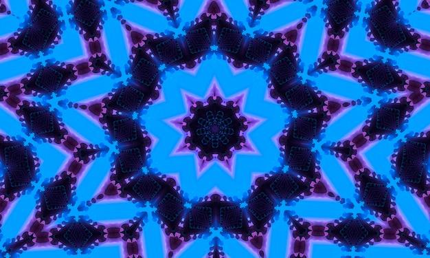 Neon-cyan-tiefblau mit violettem schattenkaleidoskop