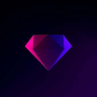 Neon-diamant-symbol. 3d-rendering-schnittstelle ui ux-element. dunkel leuchtendes symbol.