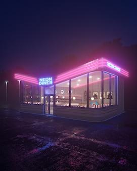 Neon-diner und retro-auto spät in der nacht. nebel, regen und farbreflexionen auf asphalt. 3d-darstellung