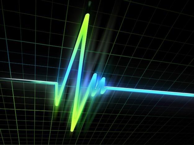 Neon-elektrokardiogramm-diagramm auf dunklem hintergrund
