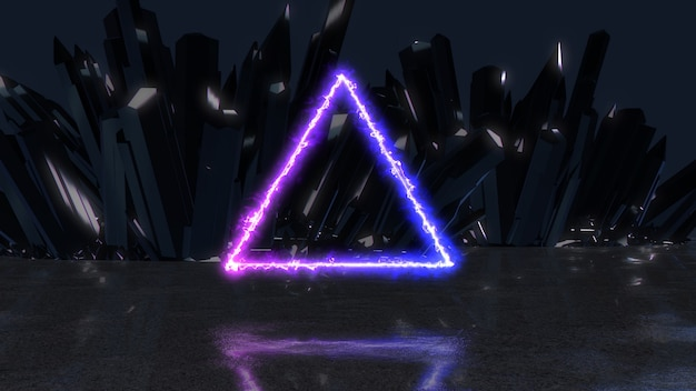Neon-energiestrahl in der form eines dreiecks auf einem hintergrund von kristallen, 3d illustration