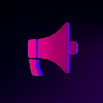Neon-flaches megaphon-symbol. 3d-rendering-ui-ux-schnittstellenelement. dunkel leuchtendes symbol.