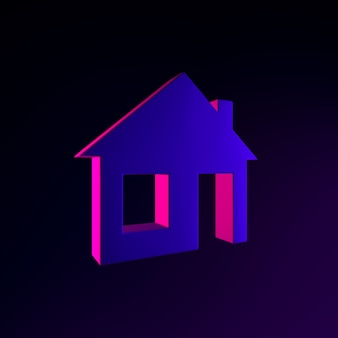 Neon-flachhaus-symbol. 3d-rendering-ui-ux-schnittstellenelement. dunkel leuchtendes symbol.