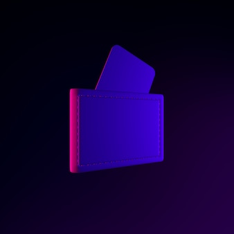 Neon-geldbörsensymbol mit bankkarten. 3d-rendering-ui-ux-schnittstellenelement. dunkel leuchtendes symbol.