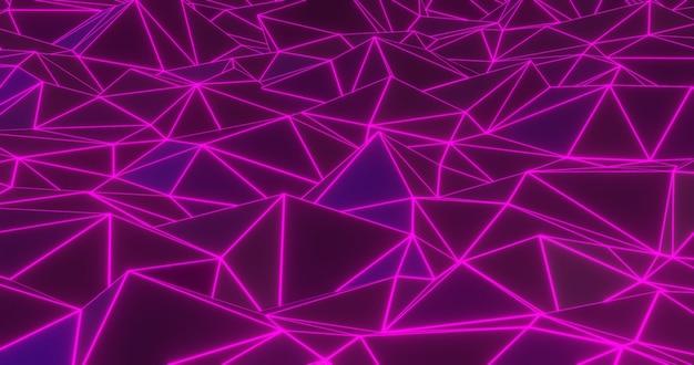 Neon geometrischer abstrakter hintergrund. 3d rendern