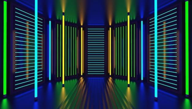 Neon glühen partyraum abstrakten hintergrund. nachtclub interieur.