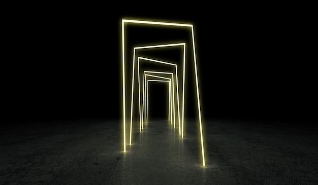 Neon glühender tunnel bei dunkelheit