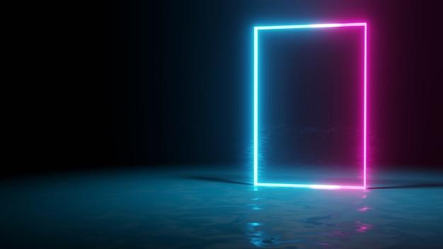 Neon-hintergrund-konzept neonlicht grunge-hintergrund 3d-rendering-raum