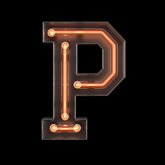 Neon light alphabet p
