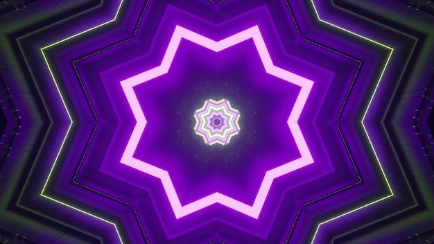Neon mehrfarbige sternförmige figuren, die einen optischen täuschungseffekt der fantastischen tunnelperspektive als abstraktes geometrisches hintergrunddesign in 4k uhd 3d-illustration bilden