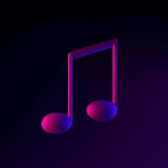 Neon-musiknotensymbol. 3d-rendering-ui-ux-schnittstellenelement. dunkel leuchtendes symbol.