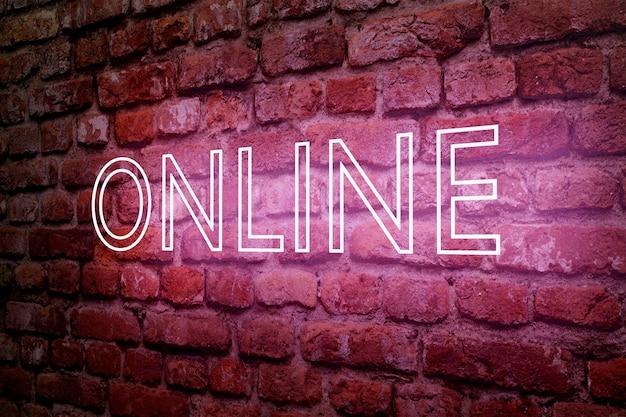 Neon online auf mauer, illustration