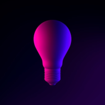 Neon realistische glühbirne symbol. 3d-rendering-ui-ux-schnittstellenelement. dunkel leuchtendes symbol.