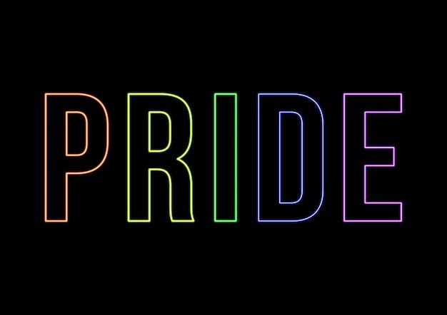 Neon stolz tag text. grafik mit schwarzem hintergrund und buchstaben in fluorfarben. stolzfahne