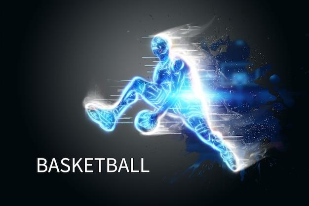 Neonbild eines professionellen basketballspielers, der mit einem ball springt. kreative collage, sportflieger. basketballkonzept, sport, spiel, gesunder lebensstil. kopieren sie platz, 3d-darstellung, 3d-rendering.