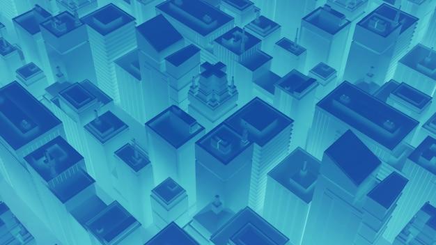 Neonblaue stadt mit wolkenkratzern. abstrakte isometrische stadt. 3d-rendering.