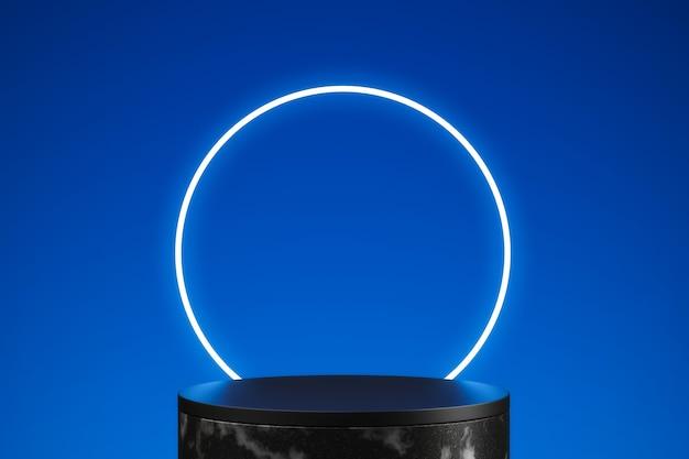 Neonblauer kreis des 3d-renderings mit schwarzem sockel auf blauem hintergrund