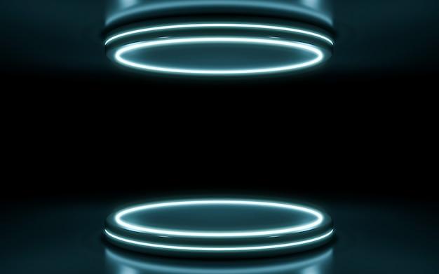 Neonbühnenhintergrund. 3d-rendering