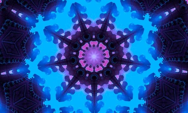 Neoncyan-blaues tiefes blau mit lila schattenkaleidoskop.