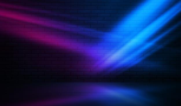 Neonformen auf einer dunklen backsteinmauer. ultraviolette beleuchtung. backsteinmauer, betonboden. 3d-darstellung