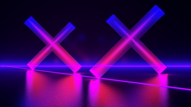 Neonlicht, abstrakter futuristischer hintergrund, ultraviolettes konzept, 3d-rendering