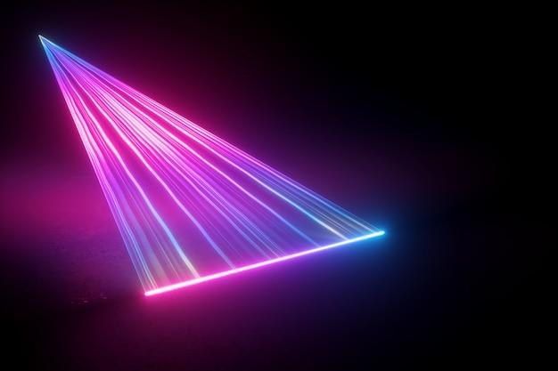 Neonlicht abstrakter hintergrund, rosa blaue strahlen, projizierender laser, abtasteffekt.