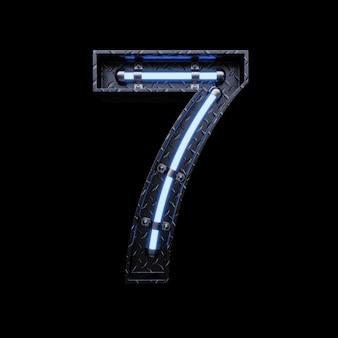 Neonlicht buchstabe 7 mit blauen neonröhren.