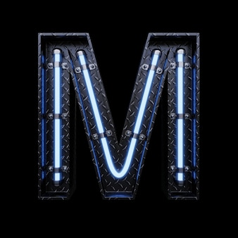 Neonlicht buchstabe m mit blauen neonröhren.