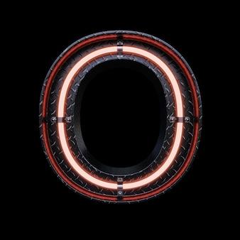 Neonlicht buchstabe o mit roten neonröhren.