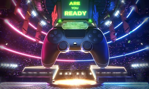 Neonlicht leuchtende e-sport-arena mit dem großen joy pad im mittleren stadion
