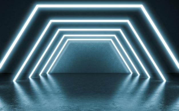Neonlichter hintergrund. 3d-darstellung
