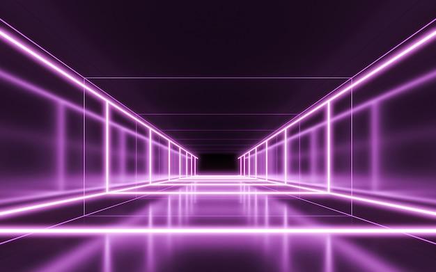 Neonlichter hintergrund. 3d-rendering