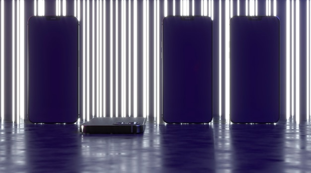 Neonlinien hintergrund mit smartphones