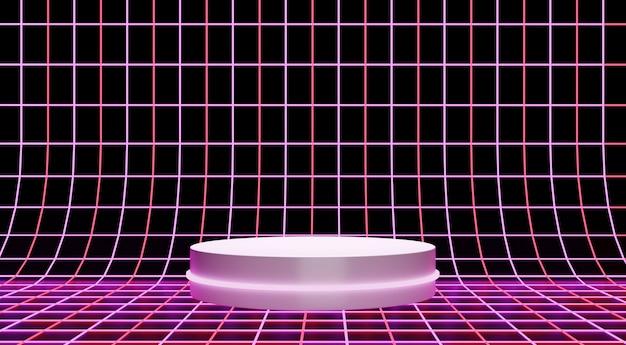 Neonpinkes podium für produktschaufenster, einfacher retro-arthintergrund