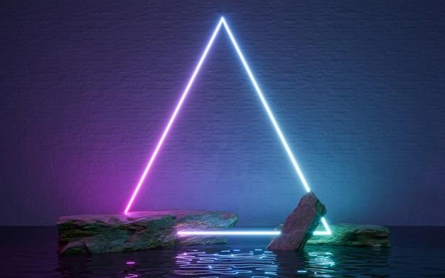 Neonrahmenschild in form mit felsen und spiegelung im wasser. 3d-rendering