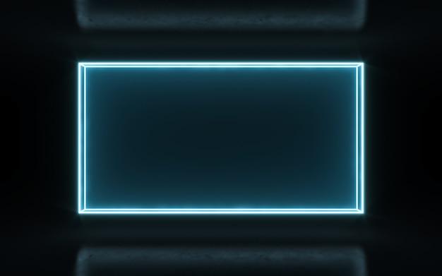 Neonrahmenzeichen in form eines rechtecks. 3d-rendering
