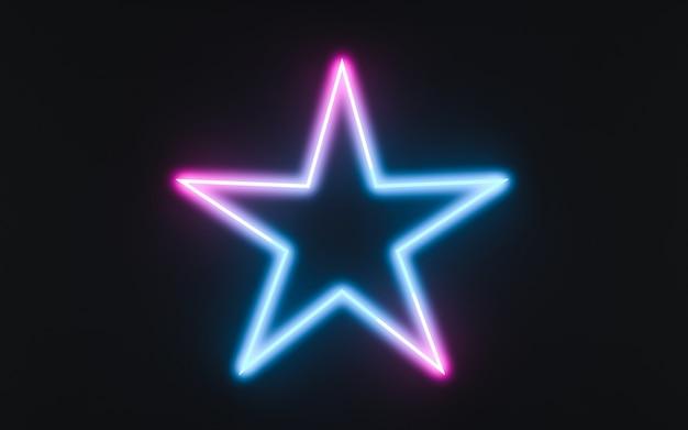 Neonrahmenzeichen in form eines sternes. 3d-darstellung