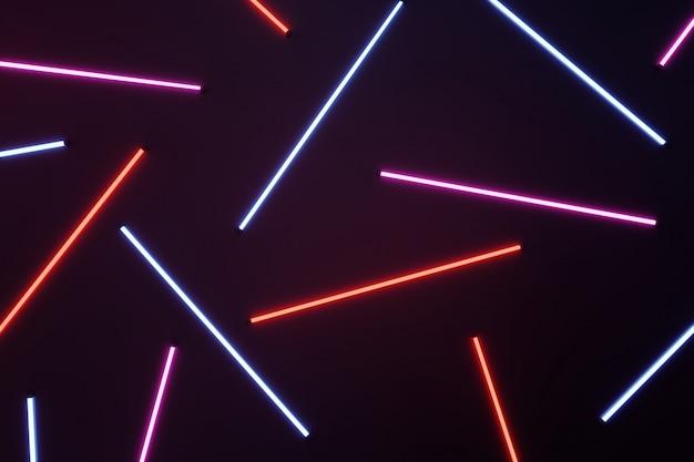 Neonröhrenmuster auf dunklem hintergrund.