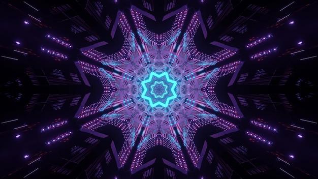 Neonsymmetrischer korridor mit sternmuster am ende, das als 3d illustrationshintergrund glüht