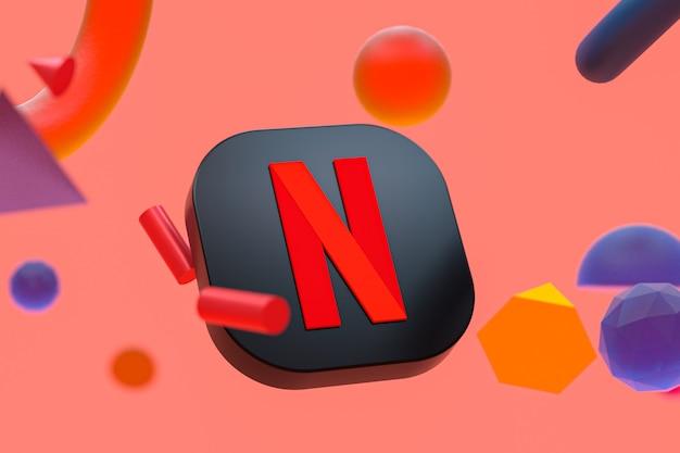 Netflix-logo auf abstraktem geometriehintergrund