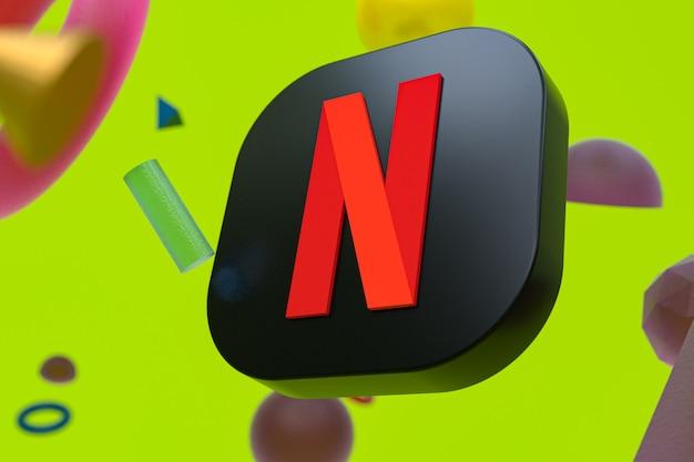 Netflix-logo auf abstrakter geometrie