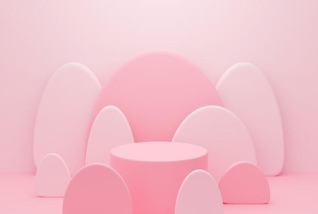 Nette 3d-rendering des podiumsstandes auf pastellfarbener hintergrundzusammenfassung. kreative ideen minimalismus.