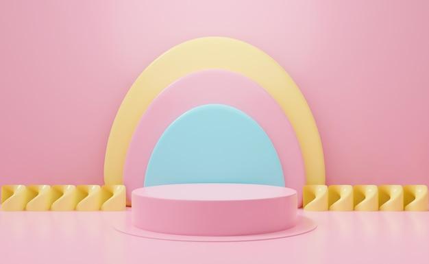 Nette 3d-rendering für sockel. podium auf pastellrosa hintergrundzusammenfassung anzeigen.