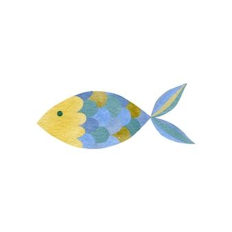 Nette aquarellillustration des kleinen fisches lokalisiert auf weißem hintergrund