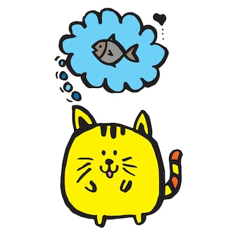 Nette katzen- und fischhand gezeichnet, colorcartooncharakter
