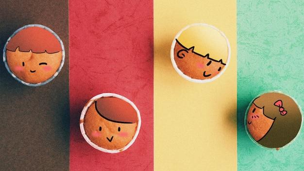 Nette kleine kuchen: kreative fotografieillustration gemischt